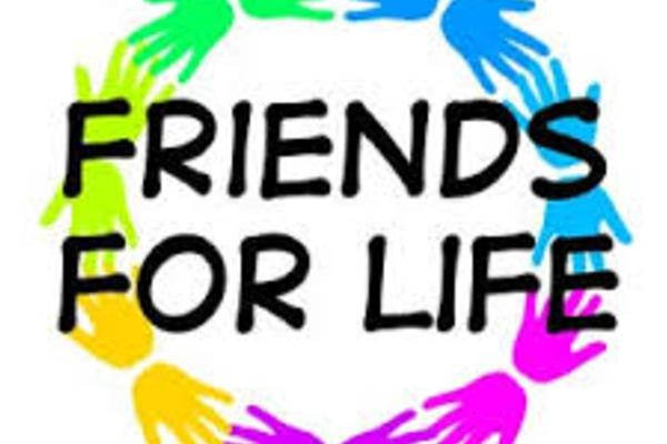 Image of friends for life logo with a rainbow colored circle of hands.
