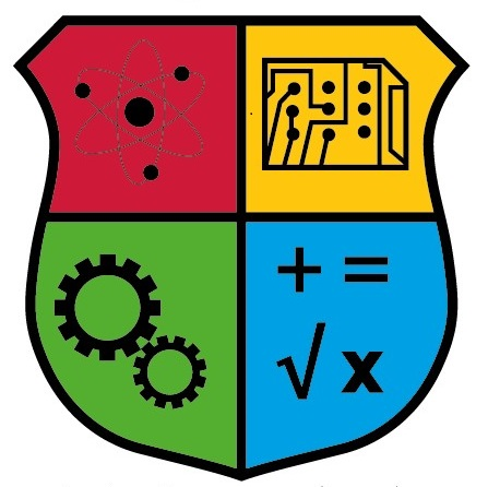 image of a stem logo containing an atom, circuit board, gears and mathematical symbols