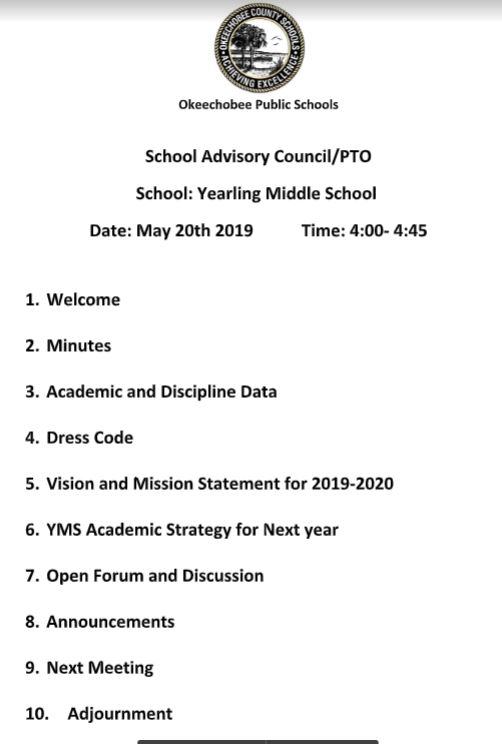 Image of Agenda for May SAC meeting