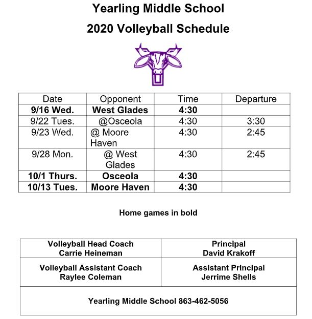 Image of 2020-2021 Volleyball Schedule
