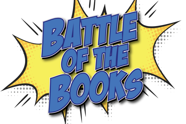 battle of the books image with super hero star background